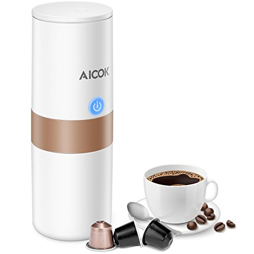 Aicok Portable Coffee Maker, Mini Electric Espresso Machine with Reusable K-cup Coffee Filter (Ground Coffee & Capsule Compatible), Quick Coffee Machine for Travel, Home, Office 【150ML, Ivory White】