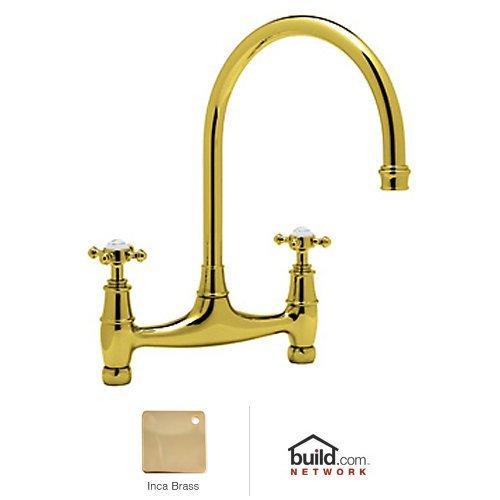 Rohl U.4790X-2 Perrin and Rowe Bridge Kitchen Faucet with Metal Cross Handles, Inca Brass