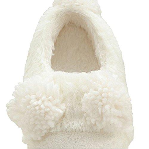 Wysbaoshu Hiver Chaud Hommes Femmes Chaussures Dintérieur Couples Maison Pantoufle Blanc Agneau