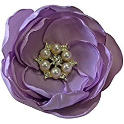 Lavender Flower Pearl Wedding Bridal Headpiece Bridesmaid Flower Hair Clip Prom