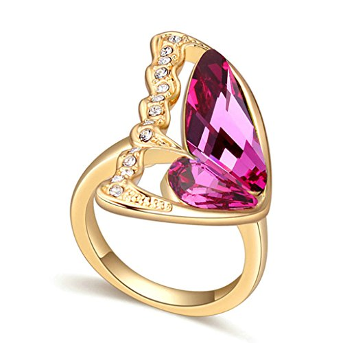(Epinki Gold Plated Ring, Women's Anniversary Rings Butterfly Wings Cubic Zirconia Polished Purple Red Size 6 )