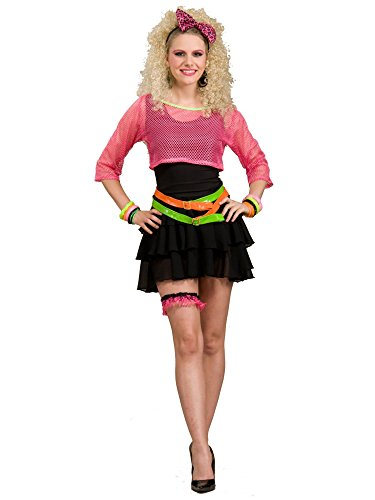 Women's 80's Groupie Costume, Pink/Black, One Size ()
