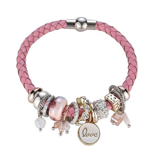 Month Birthstone Bead Charm Pearl Rhinestones Alloy Bracelet for Women (Pink) ()