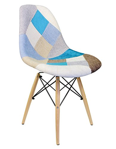 Ariel DSW Upholstered Mid-Century Eames Style Accent Side Dining Chair, Patchwork Fabric - Designer Style Fabric Upholstered Chair