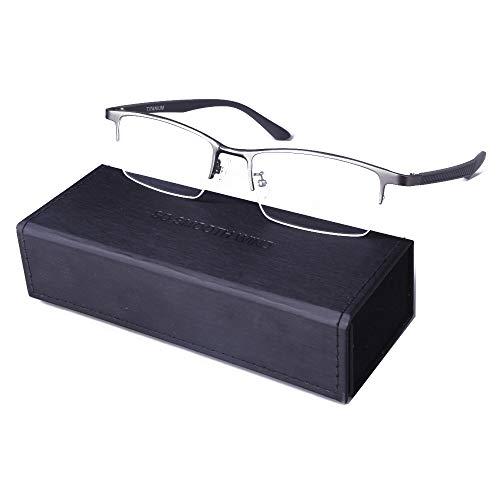 Pure Titanium Men Rectangle Eyewear Half Rim Business Eyeglasses Optical Glasses Frame With Non-Prescription Clear Lenses (Gun ()