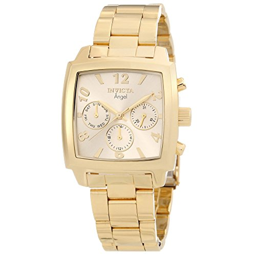 Plated Square Dial (Invicta Women's 12101 Angel Gold Dial 18k Gold Ion-Plated Stainless Steel Watch)