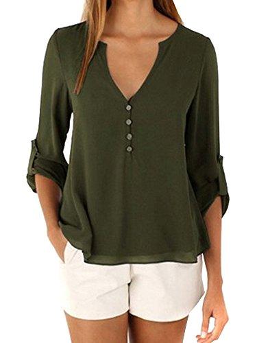 Longues T Col Haut Chemisier Manches Tunique Vert Top 4 V 3 Arm Femme shirt Uni qqwTECPfx