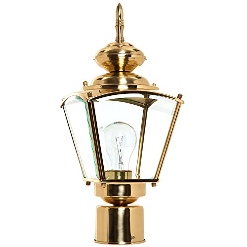 Boston Harbor 4007H2 3986627 Dimmable Outdoor Lantern, (1) 100/23 W Medium A19/Cfl Lamp, Polished, - Large Brass Polished Outdoor Post