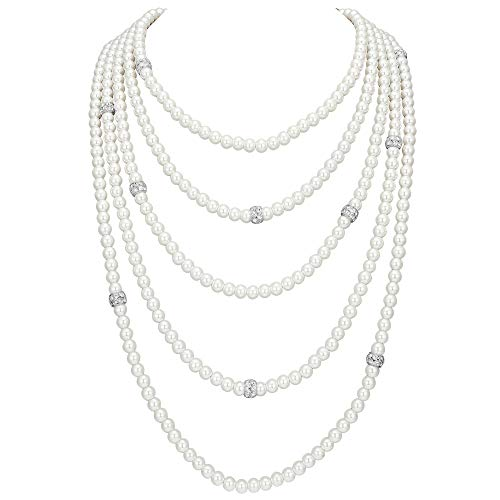 Drape Choker - BABEYOND Vintage 1920s Gatsby Imitation Pearl Choker Necklace 20s Art Deco Flapper Accessories Women White (5-layer-2-Silver)