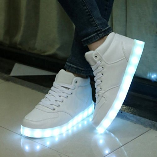 [Present:small towel]JUNGLEST® 7 Color USB Charging LED Light Flashing High Shoes for Lovers Boys Girls Men Women (Ship c31 BnxKk49U