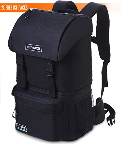 North Coyote Hiking Backpack Cooler Bag - Insulated Large Camping Back Pack for Men Women Travel Picnic & Lunch - For Fishing Hunting & Backpacking - With 2 Ice Coolers - Backpack Lunch Box