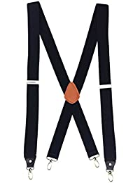 Mens Suspenders Heavy Duty Big and Tall X Back 4 Hook Clips Black Size L