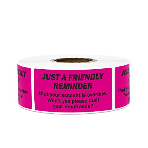 300 Labels - Friendly Reminder Account Overdue Stickers Labels for Billing Past Due Collections (2 x 1 inch, Pink - 1 Roll)]()