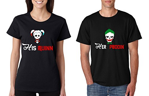 Allntrends Couple T Shirt His Quinn Her Poddin Matching Outfits For Halloween (Womens 2XL Mens XL, Black)