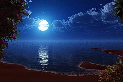 満月のビーチの壁紙-デジタルアートの壁紙-#13791 - キャンバス ステッカー 印刷 壁紙ポスター はがせるシール式 写真 特大 絵画 壁飾り75cmx50cm