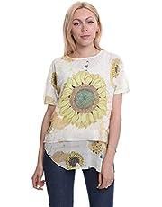 Fabulous Sunflower-Print Sheer Back-Panel Shirttail-Hem Layered-Look Top for Women