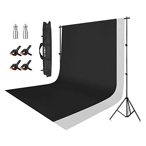 (UTEBIT 6.5x9FT Background Stand Set Polyster 6x9FT White & Black Backdrop Kit Wrinkle Resistant Photo Booth 4 Pack Clips with 2M10 Screw Adapters and Carrying Bag for Photo Video Studio)