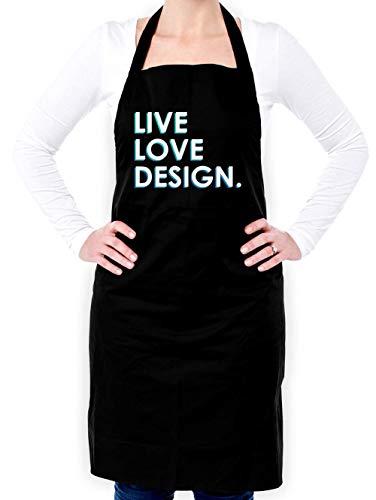 Dressdown Live Love Design - Unisex Adult Apron - Black - One Size by Dressdown