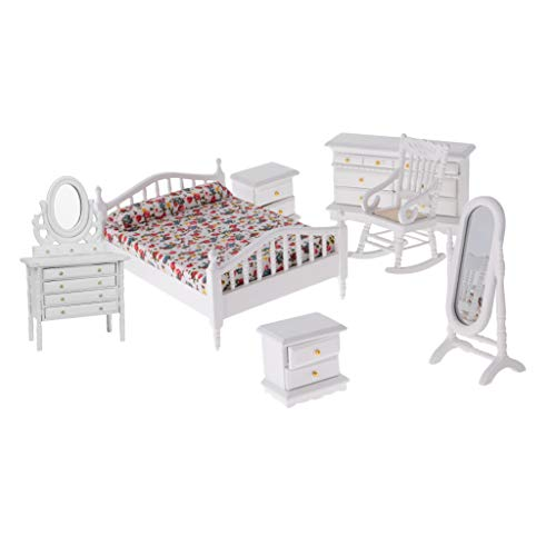 Prettyia 1:12 Dollhouse Miniature European Bedroom Kits Wooden Bed, Table & Cabinet Set Items ()