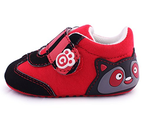 cartoonimals Babyschuhe Mädchen Jungen Neugeborene Weiche Rutschsicheren Baby Kinder Schuhe Boots Raccoon EU 17 = 0-6 Months = 115 MM; EU 18 = 6-12 Months = 121 MM; EU 19 = 12-16 Months = 127 MM Red