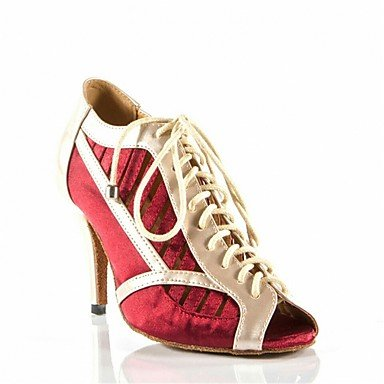 Tacón Latino Stiletto Personalizables baile de Zapatos Rojo Black Negro Tw7qqYH