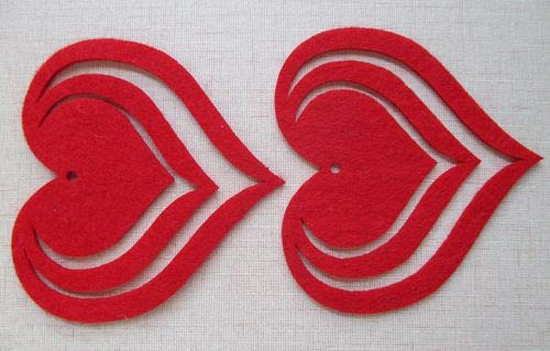 85mm Red Color Felt Applique Non - Woven Fabric Flower Petal Sets Scrapbooking Accesories 100Pcs 6004001