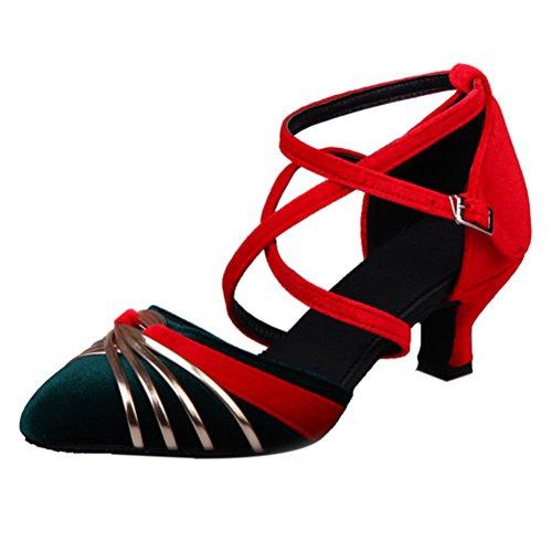 TAOFFEN Women Fashion Criss Pointy Smalle Heel Dance Court Shoes Green