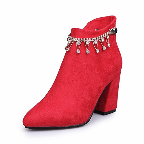 rough with 35 Boots Women Harajuku All High and 5 Match red Boots Boots EUR Cotton Pointed Heels Boots IxSqIwHtp