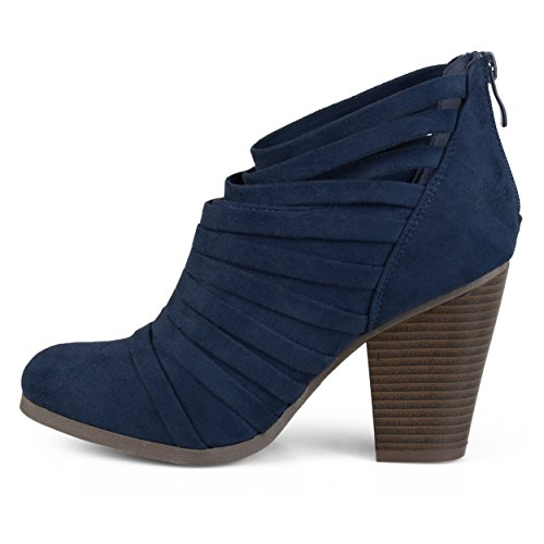 Journee Faux Booties Strappy Ankle Womens Suede Collection Navy F8qB8p