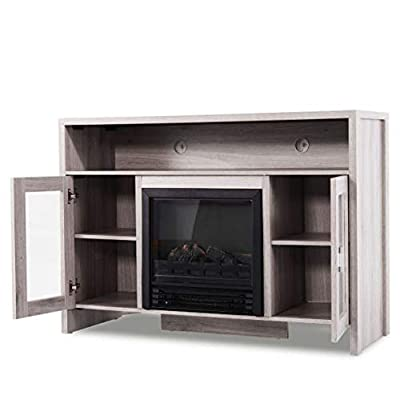 """Cypress Shop Electric Progammable Fireplace TV Stand Media Stoves Entertainment Storage Organizer Wood Console Electric Heater 43"""""""