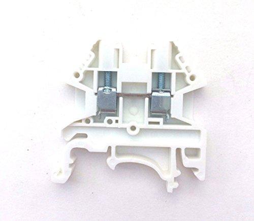 Dinkle White DK2.5N-WE DIN Rail Terminal Block Screw Type UL 600V 20A 12-22AWG, Pack of 100