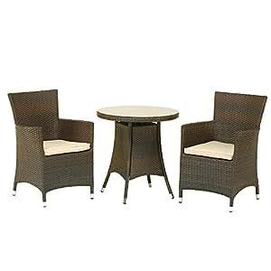 Cannes 3pc Bistro 2 Seater Set - Mocha Brown KD - Royalcraft Garden Furniture