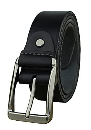 Heepliday Men's Soft Leather 15006 Belt Small 30-32 Silver Buckle Black Leather