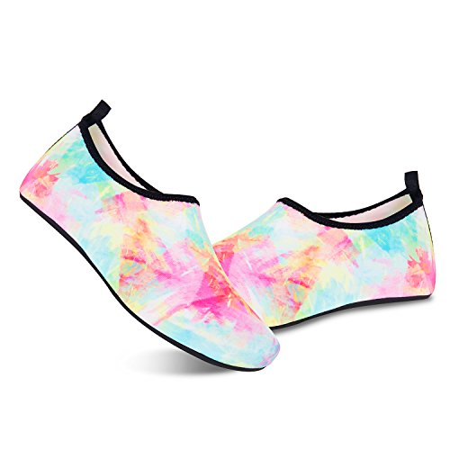Mens Womens Water Shoes Barefoot Beach Pool Shoes Quick-Dry Aqua Yoga Socks Surf Swim Water Sport (US Women 8.5-9/Men 7.5-8=EUR 41-42, tuya Multicolor) by DKRUCAK