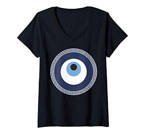 (Womens Evil Eye V-Neck T-Shirt)