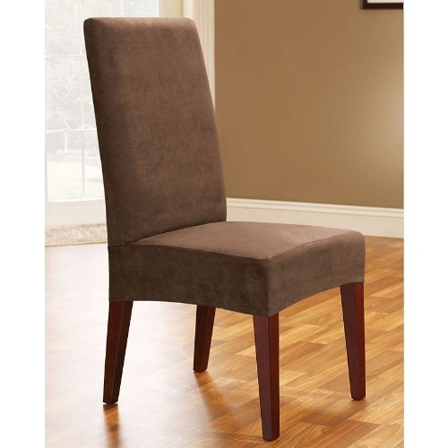 Sure Fit Soft Suede  - Shorty Dining Room Chair Slipcover  - Chocolate (SF36672) (Dining Chair Covers Brown compare prices)