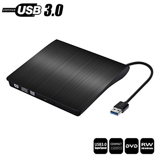 External DVD Drive USB 3.0 Slim Portable External DVD CD Drive,External CD DVD +/-RW Writer/Burner/Rewriter /DVD CD ROM Drive for Apple Macbook Air Pro PC Laptop/Desktops Win10 and Win 8 Black by JinBo
