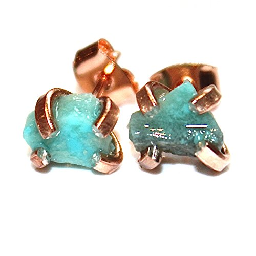 Raw Turquoise Stud Earring in Rose Gold Vermeil
