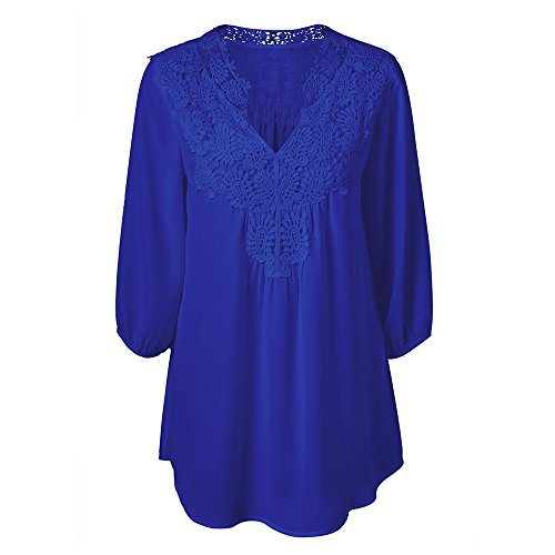 KCatsy Plus Size Sweet Crochet Spliced Tunic Blouse Sapphire Blue