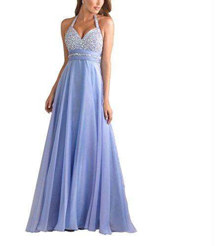 Mieder BRIDE GEORGE Schatz Linie A Perlen Abendkleid Halter Blau Chiffon Yqaa7xw