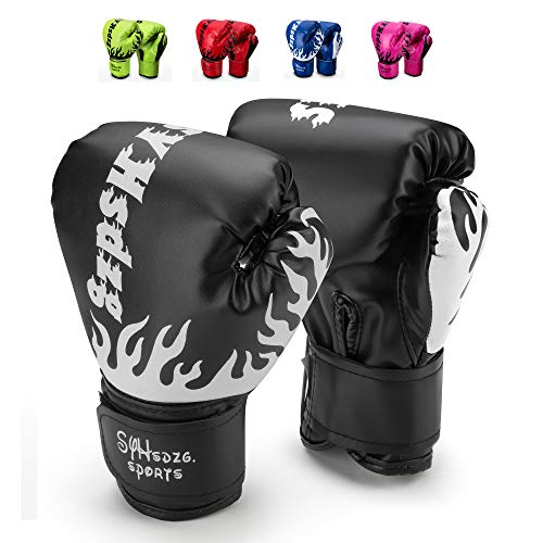 SYHsdzg Kids Boxing Gloves, Junior Punch Bag MMA Training Muay Thai Mitts Training Gloves for Children Age 3 to 14 Years-PU Leather (Black) - Leather Punch Mitts