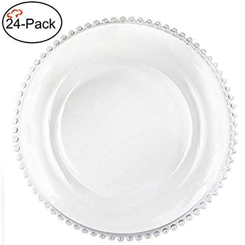 Tiger Chef 12-inch Clear Round Beaded Glass Charger Plates Set of 2,4,6, 12 or 24 Dinner Chargers (24-Pack) -