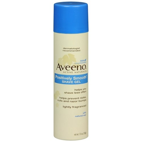 Helps You Shave Less Often! Aveeno Positively Smooth Shave Gel 7 Oz (Pack of 6)