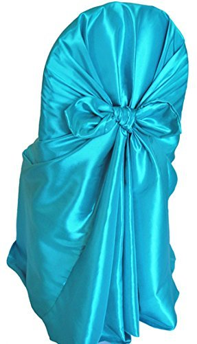 Chair Tie Cover Self - OWS Pack of 10 satin Universal Chair Cover / Pillowcase / tie back self chair cover for Wedding or Events Banquet / Folding Chair cover - Turquoise
