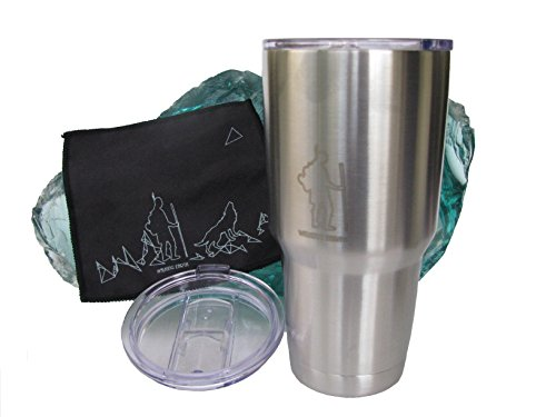 30oz Stainless Steel Tumbler with sliding lid & cleaning cloth - cold & hot drink cup - vacuum insulated double wall travel coffee mug