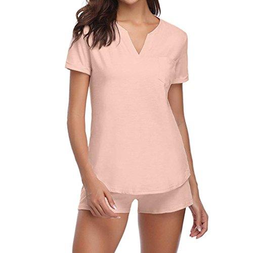 Womens Short Sleeve Sleepwear Pajama Sets Pajama Set Bamboo Tank and Shorts Set by BODOAO
