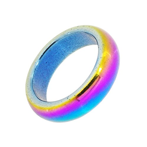 Unisex 6mm Rainbow Dome Magnetic Simulated Hematite Stone Healing Band Toe Finger Ring (11.75) Hematite Dome