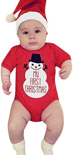 My First Christmas Outfits Clothes Zerototens Christmas Baby Romper,0-18 Months Newborn Infant Kids Jumpsuit Toddler Boys Girls Red Long Sleeve Bodysuit for Kids