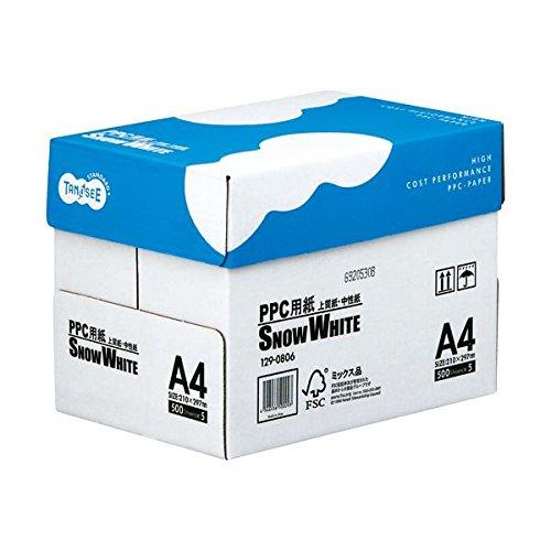 TANOSEE (まとめ) PPC用紙 SNOW WHITE A4 1箱(2500枚:500枚×5冊) (×10セット) B01H9R00MO