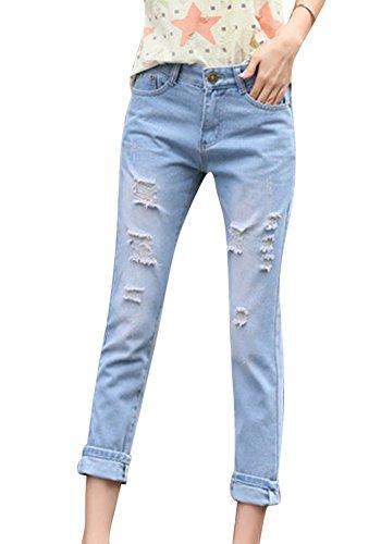 ZhuiKunA Mujeres Desgarro Suelto Pantalones De Mezclilla Tamaño Grande Simple Vaqueros Azul Claro